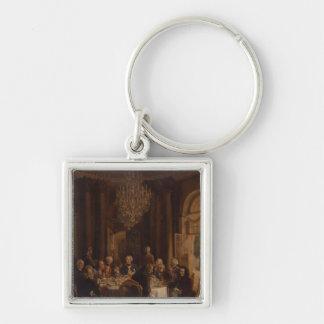 Tabla de cena en Sanssouci, 1850 Llavero Cuadrado Plateado