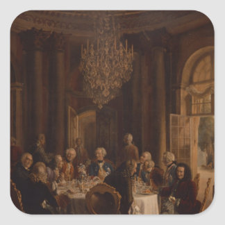 Tabla de cena en Sanssouci, 1850 Pegatina Cuadrada
