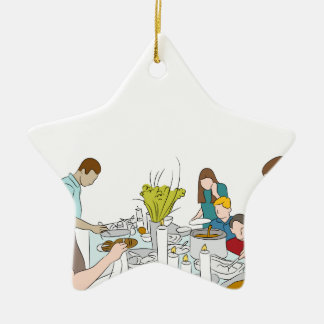 Tabla de comida fría de la familia de la acción de adorno de cerámica en forma de estrella