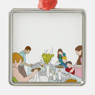 Tabla de comida fría de la familia de la acción de adorno cuadrado plateado