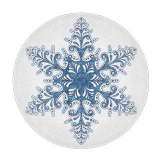 Tabla de cortar azul del copo de nieve