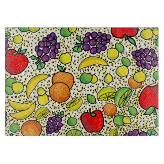 Tabla de cortar colorida de la cocina de las fruta
