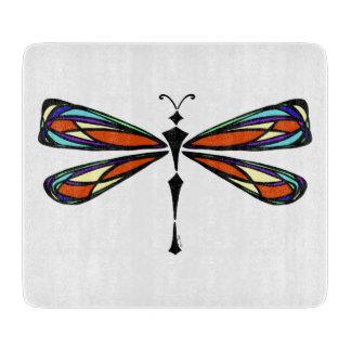 Tabla de cortar decorativa de la libélula del vitr