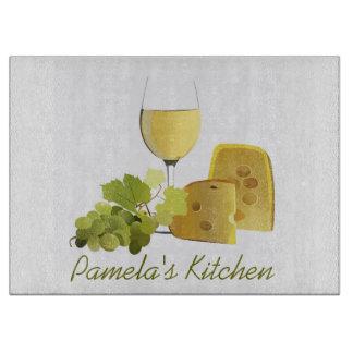 Tabla de cortar del diseño del vino y del queso