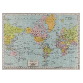 Tabla de cortar del mapa del mundo del vintage