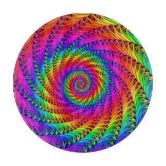Tabla de cortar espiral del arco iris