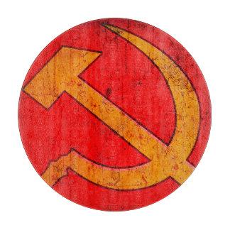 Tabla de cortar redonda soviética del martillo y
