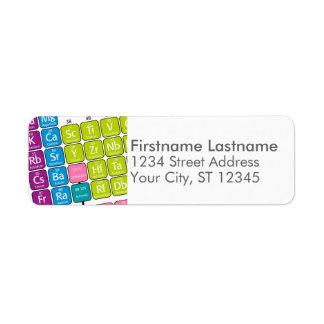Tabla de elementos periódica etiqueta de remitente