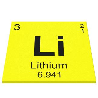 Tabla de elementos periódica (litio) lona envuelta para galerías