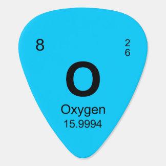 Tabla de elementos periódica (oxígeno) plumilla de guitarra
