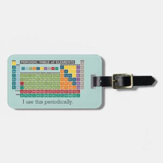 Tabla de elementos periódicamente periódica etiquetas para maletas