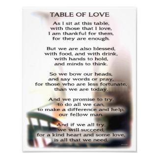 Tabla de impresión de la foto del amor