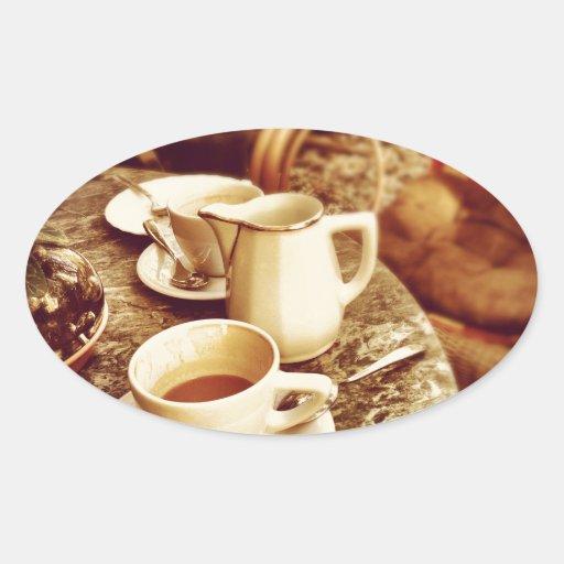 Tabla de la cafetería pegatina ovalada