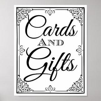 Tabla de las tarjetas y de los regalos de la póster