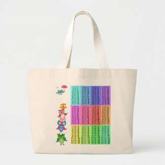 Tabla de multiplicación de los búhos del arco iris bolsas de mano