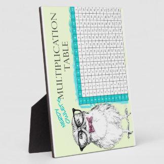 Tabla de multiplicación Nerdy del búho Placa De Plastico