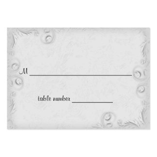 Tabla de plata elegante Placecard del boda de Scro Tarjeta De Visita