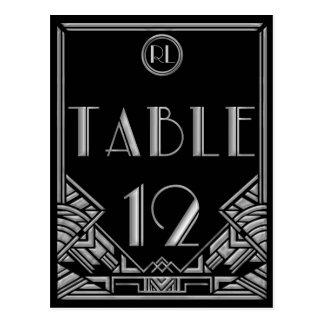 Tabla de plata negra número 12 del estilo de tarjeta postal