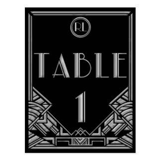 Tabla de plata negra número 1 del estilo de Gatsby Tarjeta Postal