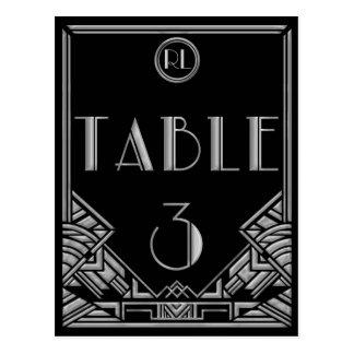 Tabla de plata negra número 3 del estilo de Gatsby Tarjeta Postal