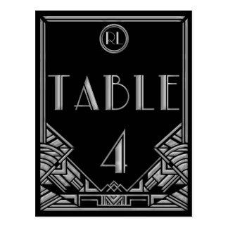 Tabla de plata negra número 4 del estilo de Gatsby Postales