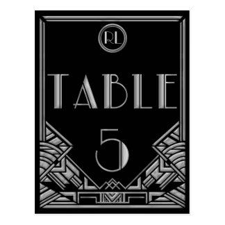 Tabla de plata negra número 5 del estilo de Gatsby Postales