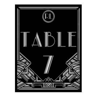 Tabla de plata negra número 7 del estilo de Gatsby Postales