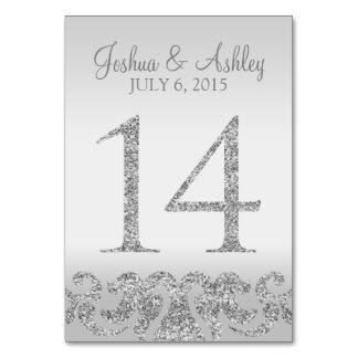 Tabla de plata Numbers-14 del boda de la mirada