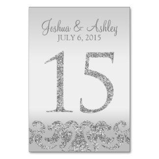 Tabla de plata Numbers-15 del boda de la mirada