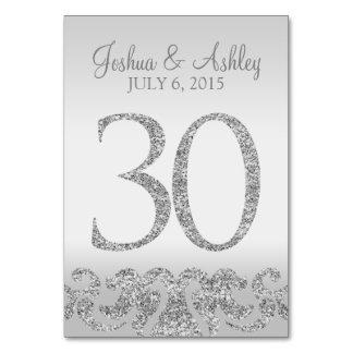 Tabla de plata Numbers-30 del boda de la mirada