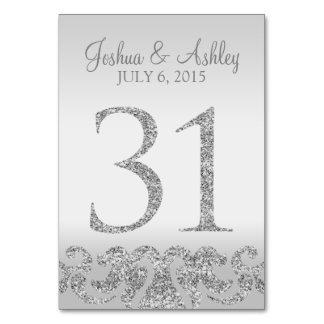 Tabla de plata Numbers-31 del boda de la mirada