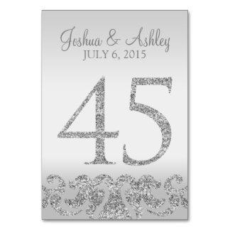 Tabla de plata Numbers-45 del boda de la mirada