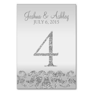 Tabla de plata Numbers-4 del boda de la mirada del