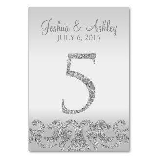 Tabla de plata Numbers-5 del boda de la mirada del