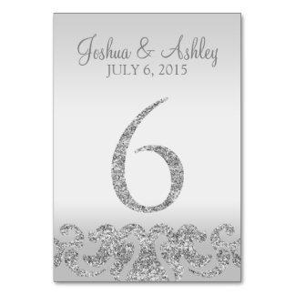 Tabla de plata Numbers-6 del boda de la mirada del