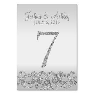 Tabla de plata Numbers-7 del boda de la mirada del