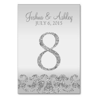 Tabla de plata Numbers-8 del boda de la mirada del