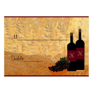 Tabla de tarjeta del lugar de las botellas de vino tarjetas de visita grandes