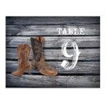 tabla del boda de CowboyCountry del barnwood del v Postales