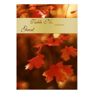 Tabla del boda de la hoja de la caída del otoño tarjetas de visita grandes