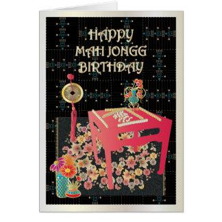 Tabla del rojo del Mah Jongg Tarjeta De Felicitación