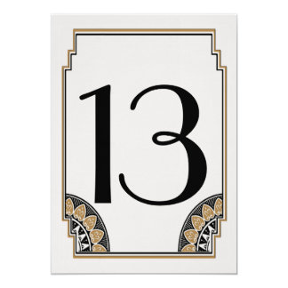 """Tabla elegante número 13 del oro del art déco invitación 5"""" x 7"""""""