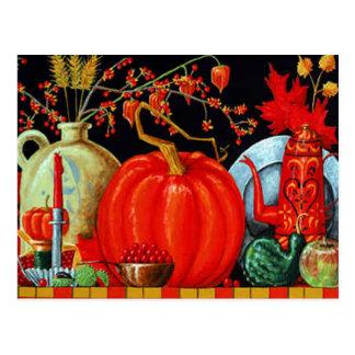Tabla festiva del otoño tarjetas postales