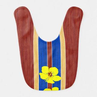 Tabla hawaiana amarilla de madera de la babero para bebé