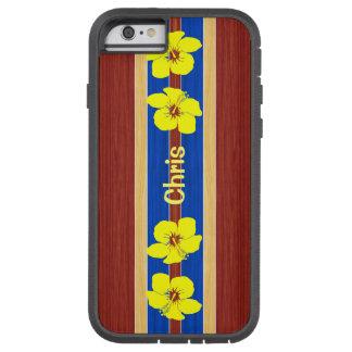Tabla hawaiana amarilla de madera de la funda de iPhone 6 tough xtreme