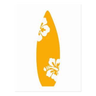 Tabla hawaiana anaranjada del hibisco tarjetas postales