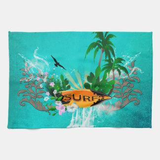 Tabla hawaiana con la palma y las flores toallas de cocina