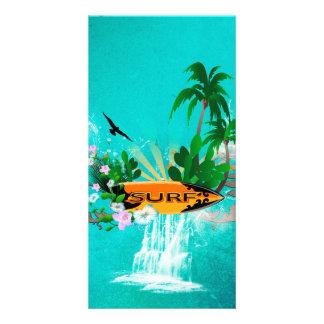 Tabla hawaiana con la palma y las flores tarjetas fotograficas