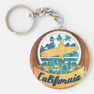 Tabla hawaiana de California Llavero Redondo Tipo Pin