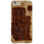 Tabla hawaiana de madera de Koa Tiki Sun Funda De iPhone 6 Plus Barely There